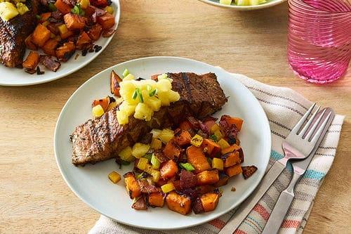 Caribbean-Spiced Mahi Mahi with Sweet Potato Hash