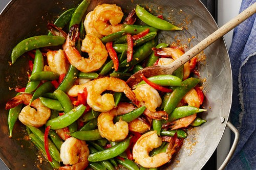 Stir-Fried Spicy Ginger Shrimp with Sugar Snaps