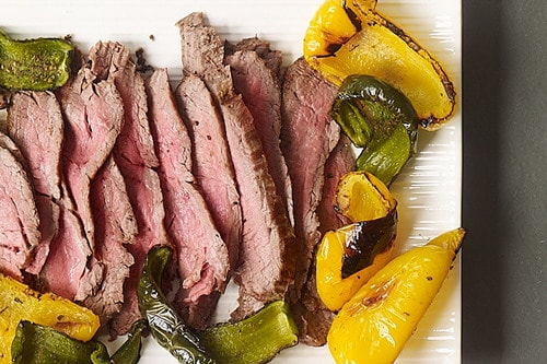 Broiled Steak and Peppers with Easy Spicy Green Sauce