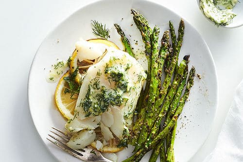 Grilled Cod Fillets with Lemon-Dill Butter