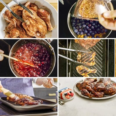 Blueberry Barbecue Grilled Chicken Collage