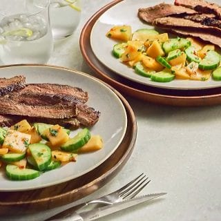 Herb and Chili Steak with Melon