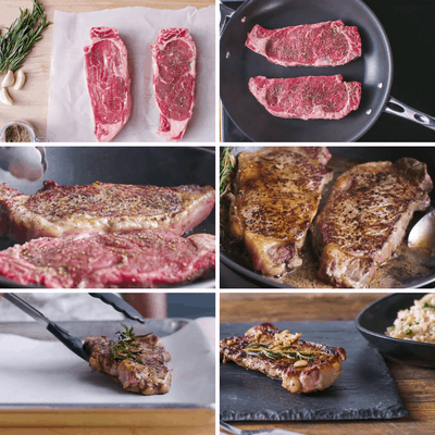 Butter Basted Rosemary Steaks Collage