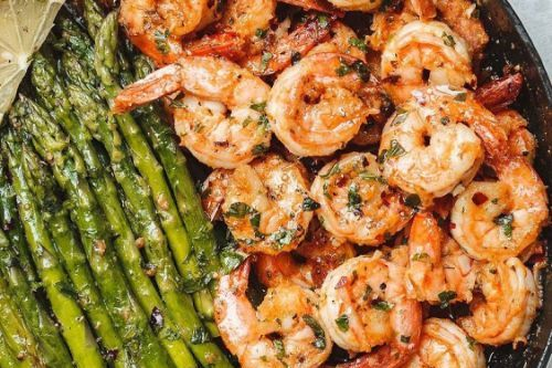 18 Garlic Butter Shrimp w Asparagus