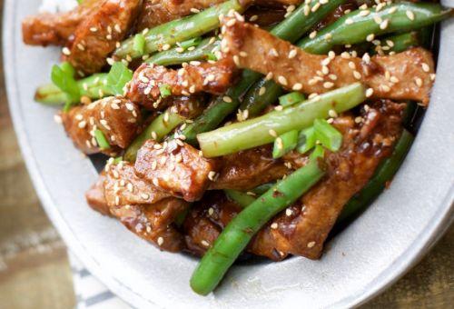 Keto Sesame Pork and Green Beans - Keto Pork Recipes