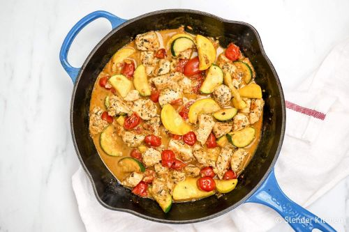 Healthy Tuscan Chicken with Zucchini and Tomatoes