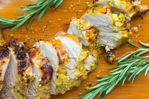 Mustard Glazed Air Fryer Pork Tenderloin - Keto Pork Recipes