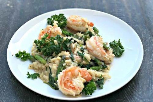 2 Instant Pot Lemon Shrimp Risotto with Vegetables and Parmesan
