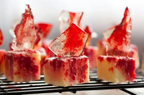 20. Blood-Splattered Petit Fours with Sugar Glass
