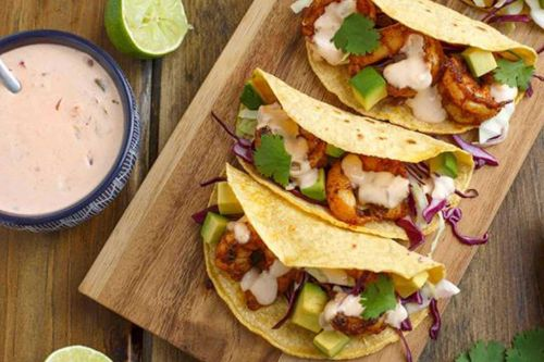5. Chile Lime Shrimp Tacos with Creamy Salsa