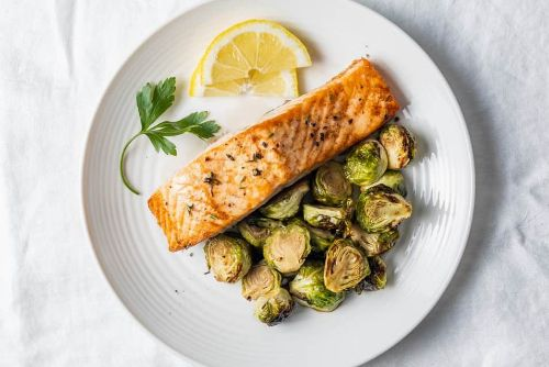 6 Air Fryer Salmon and Brussels Sprouts